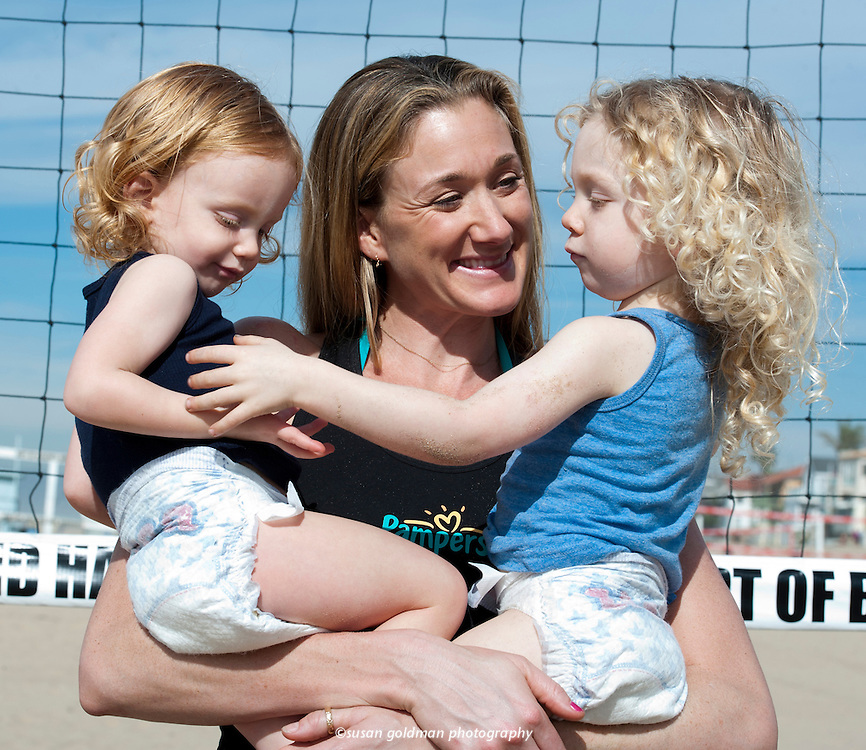 Three-time Olympic Games Gold Medalist and Team USA Kerri Walsh, and her family, including sons Joseph and Sundance, have partnered with Pampers to celebrate the unique spirit of play found within every baby, to celebrate the Olympic Games. Photo/Pampers, Susan Goldman.