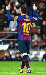 BARCELONA, Jan. 14, 2019  SP)SPAIN-BARCELONA-SOCCER-LA LIGA-BARCELONA VS EIBAR.    Barcelona's Lionel Messi celebrates his goal.    during a Spanish league match between FC Barcelona and SD Eibar in Barcelona, Spain, on Jan. 13, 2019. FC Barcelona won 3-0. (Credit Image: © Joan Gosa/Xinhua via ZUMA Wire)