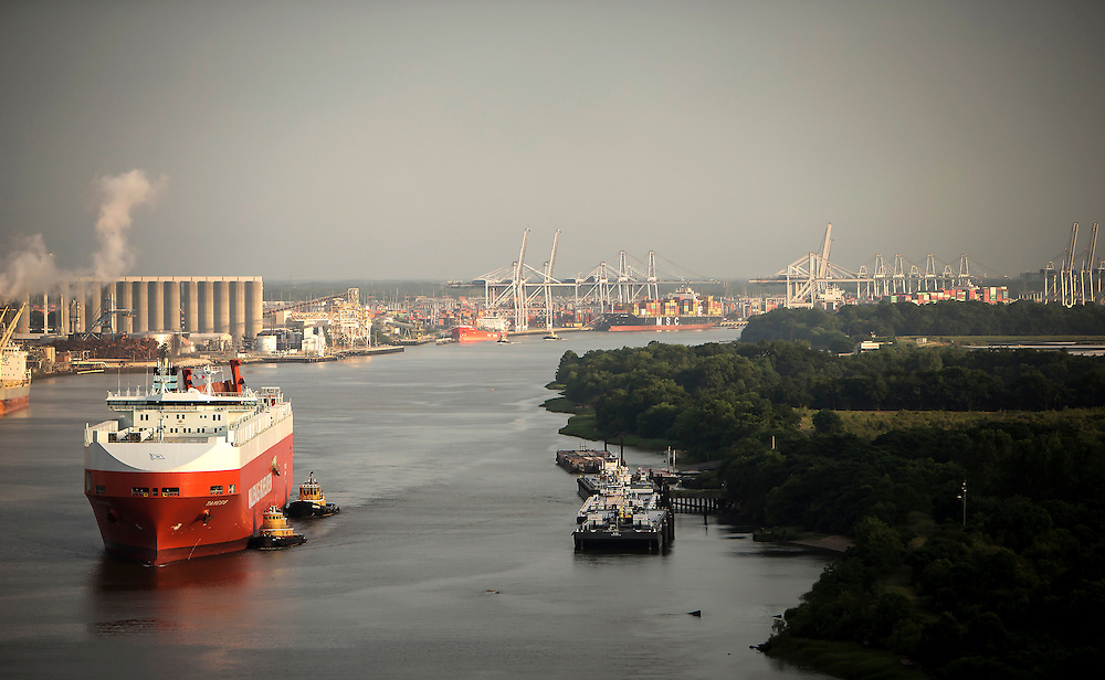 Toyota cars and WWL RoRo on Ocean Terminal at the Georgia Ports Authority, Friday, June, 26, 2015, in Savannah, Ga.  (GPA Photo/Stephen B. Morton)