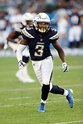 Los Angeles Chargers rookie safety Rayshawn Jenkins (3) chases the action during the 2017 NFL week 1 preseason football game against the Seattle Seahawks, Sunday, Aug. 13, 2017 in Carson, Calif. The Seahawks won the game 48-17. (©Paul Anthony Spinelli)