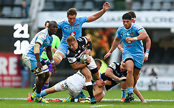 Durban. 250818. Johan Deysel of the Sharks during the Currie Cup match between the Sharks and the Vodacom Bulls at Kings Park stadium, Durban South Africa. Picture Leon Lestrade. African News Agency. ( ANA ).
