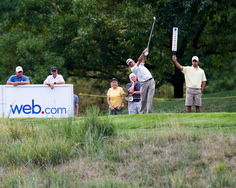 Doug Barron tees off on the 4th hole during the final round of the 2012 Price Cutter Charity Championship at Highland Springs Country Club on August 12, 2012 in Springfield, Missouri. (David Welker/www.TurfImages.com).