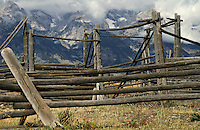 An old corral in the valley below the mountains in Grand Teton National Park