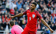 Marcus Rashford (9) of England celebrates scoring the opening goal during the International Friendly match at the Stadium Of Light, Sunderland<br /> Picture by Simon Moore/Focus Images Ltd 07807 671782<br /> 27/05/2016