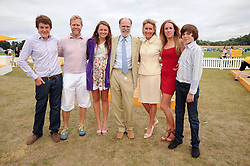 VISCOUNT & VISCOUNTESS COWDRAY with their children, left to right, the HON.PEREGRINE PEARSON, SEBASTIAN PEARSON, the HON.CATRINA PEARSON, The HON.EMILY PEARSON and the HON.MONTY PEARSON at the Veuve Clicquot Gold Cup polo final held at Cowdray Park, Midhurst, West Sussex on 18th July 2010.
