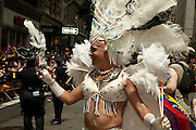 Feathered participant in the 2011 Pride Parade in New York.
