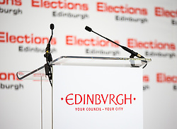 Scottish Parliament Election 2016 Royal Highland Centre Ingliston Edinburgh 05 May 2016; the stage awaits the candidates during the Scottish Parliament Election 2016, Royal Highland Centre, Ingliston Edinburgh.<br /> <br /> (c) Chris McCluskie | Edinburgh Elite media