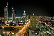 View of Dubai from the Park Place Tower on Sheikh Zayed Road, Dubai (Emirates Towers on left). .January 2006, Dubai, United Arab Emirates Archive of images of Dubai by Dubai photographer Siddharth Siva