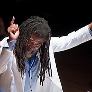 "December 16, 2011 - Brooklyn, NY : Wadada Leo Smith leads his ""Silver Orchestra"" (not pictured) as they perform during a concert in celebration of Leo's 70th birthday at Roulette in Brooklyn on Friday night. CREDIT: Karsten Moran for The New York Times"