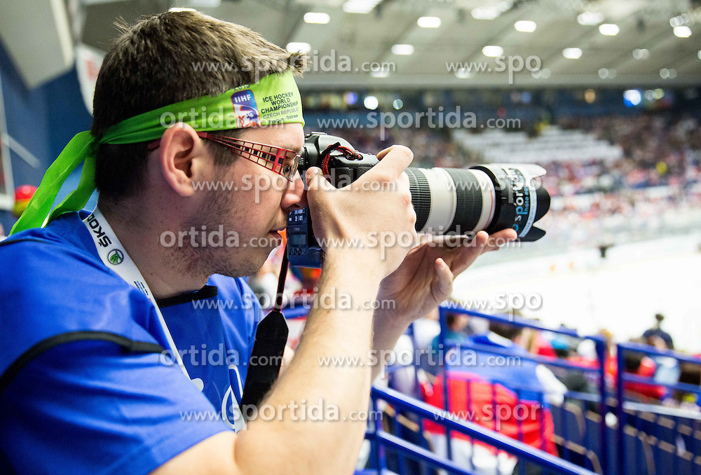 Photographer Matic Klansek Velej during Ice Hockey match between Russia and Slovenia at Day 3 in Group B of 2015 IIHF World Championship, on May 3, 2015 in CEZ Arena, Ostrava, Czech Republic. Photo by Vid Ponikvar / Sportida