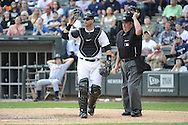 CHICAGO - SEPTEMBER 17:  A.J. PIerzynski #12 of the Chicago White Sox looks on while catching against the Detroit Tigers on September 17, 2012 at U.S. Cellular Field in Chicago, Illinois.  The White Sox defeated the Tigers 5-4.  ((Photo by Ron Vesely)  Subject:  A.J. Pierzynski