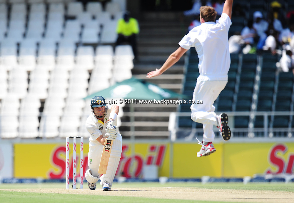 Morne Morkel of South Africa appeals the wicket of Shane Watson of Australia <br /> &copy; Barry Aldworth/Backpagepix