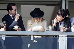 Lily Allen alongside Jimmy Carr attends the Cheltenham Festival and celebrates backing the winner in the Gold Cup. Cheltenham Racecourse, Cheltenham, United Kingdom. Friday, 14th March 2014. Picture by i-Images