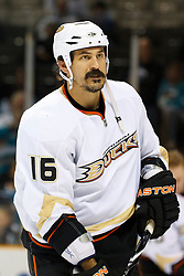 April 2, 2011; San Jose, CA, USA;  Anaheim Ducks right wing George Parros (16) warms up before the game against the San Jose Sharks at HP Pavilion. San Jose defeated Anaheim 4-2. Mandatory Credit: Jason O. Watson / US PRESSWIRE