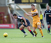 Dundee's Danny Williams and Motherwell's Craig Clay - Motherwell v Dundee in the Ladbrokes Scottish Premiership at Fir Park, Motherwell. Photo: David Young<br /> <br />  - © David Young - www.davidyoungphoto.co.uk - email: davidyoungphoto@gmail.com
