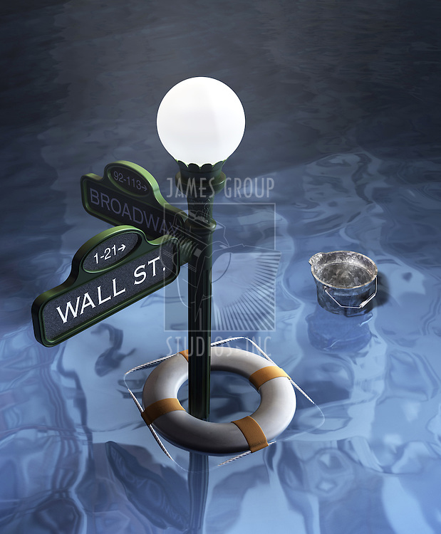 Wall street and Broadway Street sign underwater showing lifesaver and bucket