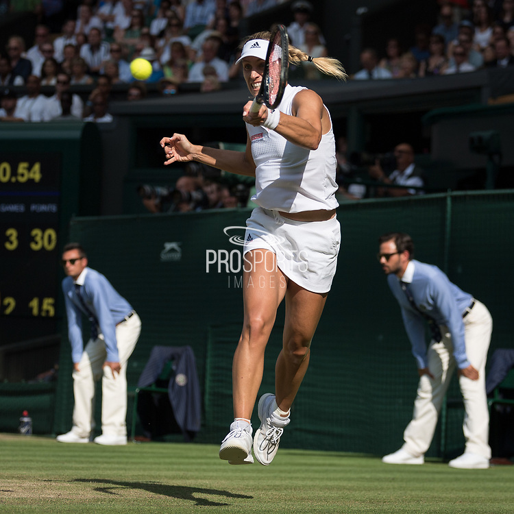 14 July 2018.  The Wimbledon Tennis Championships 2018 held at The All England Lawn Tennis and Croquet Club, London, England, UK.  <br /> <br /> Ladies' Singles Final on Cenrtre Court.  <br /> Angelique Kerber (blonde hair) v Serena Williams (black hair).