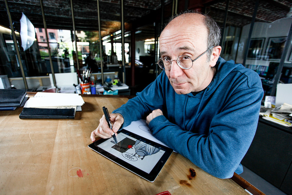 Brussels. June 3rd, 2013. Philippe Geluck, a famous draftsman in his studio in Brussels. Pix: Philippe Geluck. Credit: Pablo Garrigos