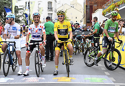 July 29, 2018 - Paris Champs-Elysees, France - PARIS CHAMPS-ELYSEES, FRANCE - JULY 29 : LATOUR Pierre Roger (FRA) of AG2R La Mondiale, ALAPHILIPPE Julian (FRA) of Quick - Step Floors; THOMAS Geraint (GBR) of Team SKY, SAGAN Peter (SVK) of Bora - Hansgrohe during stage 21 of the 105th edition of the 2018 Tour de France cycling race, a stage of 116 kms between Houilles and Paris Champs-Elysees on July 29, 2018 in Paris Champs-Elysees, France, 29/07/18  (Credit Image: © Panoramic via ZUMA Press)