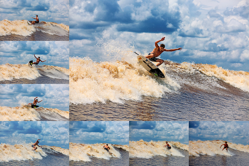 Mikey Barber air reverse sequence while surfing the tidal river bore wave known as Bono or Seven Ghosts
