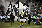 The Philadelphia Eagles mascot and his assistants run onto the field carrying team flags during player introductions before the NFL NFC Wild Card football game against the New Orleans Saints on Saturday, Jan. 4, 2014 in Philadelphia. The Saints won the game 26-24. ©Paul Anthony Spinelli