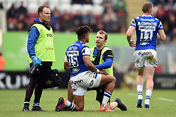 Anthony Watson of Bath Rugby is treated for an injury - Mandatory byline: Patrick Khachfe/JMP - 07966 386802 - 18/05/2019 - RUGBY UNION - Welford Road - Leicester, England - Leicester Tigers v Bath Rugby - Gallagher Premiership Rugby