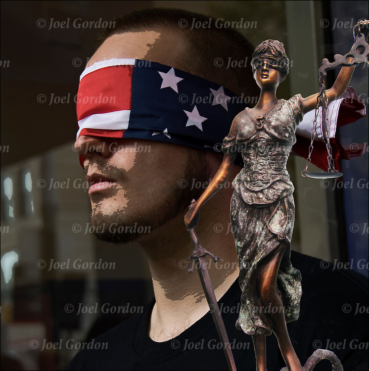 Justice in America, two image collage, background image posterise.<br /> <br /> Demonstrator wearing an American flag (justice is blind)  covering his eyes near ground zero on 9-11-11. <br /> Second image is of Lady Juatice or Blind Justice.<br /> <br /> Blindfold Flag - GOR-83217-11-cR-p<br /> Lady Justice - GOR-64520-08