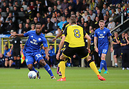 Matthew Lund of Burton Albion and Junior Hoilett of Cardiff City during the Sky Bet Championship match at the Pirelli Stadium, Burton upon Trent<br /> Picture by Mike Griffiths/Focus Images Ltd +44 7766 223933<br /> 05/08/2017