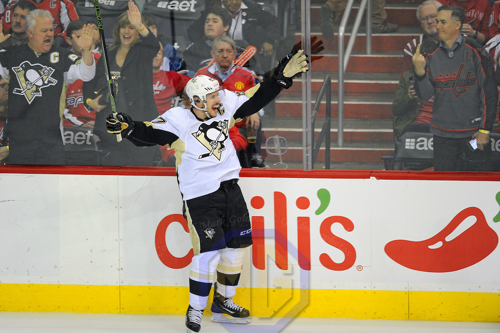 Pittsburgh Penguins center Sidney Crosby (87) celebrates after scoring the winning goal in overtime against the Washington Capitals in the third period at the Verizon Center in Washington, D.C. on April 7, 2016 where the Pittsburgh Penguins defeated the Washington Capitals, 4-3 in overtime.   Photo by Mark Goldman/UPI