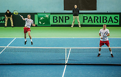 Mateusz Kowalczyk and Marcin Matkowski of Poland  playing doubles during the Day 2 of Davis Cup 2018 Europe/Africa zone Group II between Slovenia and Poland, on February 4, 2018 in Arena Lukna, Maribor, Slovenia. Photo by Vid Ponikvar / Sportida