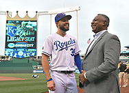 April 13, 2017 - Kansas City, MO, USA - The Kansas City Royals' Eric Hosmer stops to visit with Royals Hall of Famer and Jackson County executive Frank White, right, before a game against the Oakland Athletics at Kauffman Stadium in Kansas City, Mo. (Credit Image: © John Sleezer/TNS via ZUMA Wire)