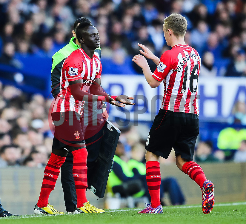 Southampton's James Ward-Prowse is replaced by Southampton's Sadio Mane  - Photo mandatory by-line: Matt McNulty/JMP - Mobile: 07966 386802 - 04/04/2015 - SPORT - Football - Liverpool - Goodison Park - Everton v Southampton - Barclays Premier League
