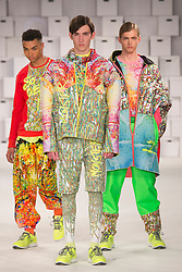 © Licensed to London News Pictures. 01/06/2014. London, England. Collection from the Manchester School of Art. Graduate Fashion Week 2014, Runway Show at the Old Truman Brewery in London, United Kingdom. Photo credit: Bettina Strenske/LNP