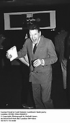 Lucian Freud at Lord Antony Lambton's book party. London 19/9/83. Film 83644f13<br />