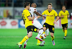 Sokratis Papastathopoulos of Borussia Dortmund vs Silvio Carlos De Oliveira of WAC during football match between WAC Wolfsberg (AUT) and  Borussia Dortmund (GER) in First leg of Third qualifying round of UEFA Europa League 2015/16, on July 30, 2015 in Wörthersee Stadion, Klagenfurt, Austria. Photo by Vid Ponikvar / Sportida