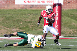 16 October 2010:  E.J. Jones steps past Derrick Lang during a game where the North Dakota State Bison lost to the Illinois State Redbirds 34-24, meeting at Hancock Stadium on the campus of Illinois State University in Normal Illinois.