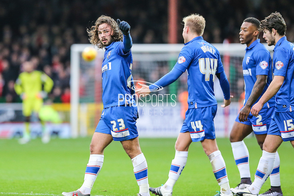 Gillingham's Bradley Dack salutes his teams away support after his goal during the Sky Bet League 1 match between Swindon Town and Gillingham at the County Ground, Swindon, England on 26 December 2015. Photo by Shane Healey.