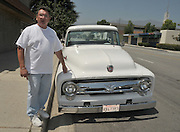 """October 17, 2010 - Modesto, California, U.S. - <br /> Stolen truck found after 38 years<br /> <br /> It only took them 38 years, but police in California finally found Harold Voelker's 1956 Ford F-100 truck which was stolen from Los Angeles in the early 1970's.<br /> """"I was shaking,"""" Volelker said when he got the call from Modesto Highway Patrol saying they believe they found the 1967 truck he reported stolen in the summer of 1972.<br /> The years passed and Voelker went on with his life: oil painting and collecting cars.<br /> Since the theft in 1972, the truck has had at least two different """"owners"""" including the couple that surrendered the Ford plus a Modesto woman who was given the truck by her father in Texas and had owned it for 11 years.<br /> Two weeks ago, when the Modesto couple took the pickup for it's annual registration, a Dept. of Motor Vehicles official was suspicious of the Vehicle Identification Number. It appeared the vehicle's original VIN had been covered with a false number. But the VIN number on the truck's door didn't match the one in the cabin interior.<br /> Not everything is back the way it was - almost. When it was stolen the truck was yellow, since then, it has been painted a pristine white. According to Voelker, someone must have really put some money into the truck. it now has alloy wheels and has even had a brand new engine put in since it was stolen. """"It's better than when I last had it in 1972,"""" said Voelker.<br /> PICTURED: Harold Voelker's 1956 Ford F-100 pickup, """"It's better than when I last had it in 1972,"""" said Voelker.<br /> (Credit Image: ©Terry Miller/Exclusivepix)"""