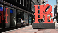 Hope Sculpture By Robert Indiana at 810 Seventh Ave, between 53rd and 52nd street