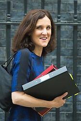 Downing Street, London, October 20th 2015.  Northern Ireland Secretary Theresa Villiers leaves 10 Downing Street after attending the weekly cabinet meeting.