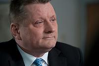 11 JAN 2012, BERLIN/GERMANY:<br /> Hermann Groehe, CDU Generalsekretaer, waehrend einem Interview, in seinem Buero, Konrad-Adenauer-Haus<br /> IMAGE: 20120111-01-021<br /> KEYWORDS: Hermann Gröhe, Büro