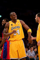 27 October 2009: Guard Kobe Bryant of the Los Angeles Lakers celebrates against the Los Angeles Clippers during the first half of the Lakers 99-92 victory over the Clippers at the STAPLES Center in Los Angeles, CA.