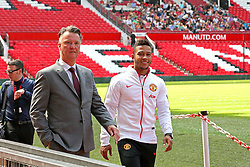 Memphis Depay & Louis van Gaal - Photo mandatory by-line: Matt McNulty/JMP - Mobile: 07966 386802 - 10/07/2015 - SPORT - Football - Manchester - Old Trafford - Memphis Depay unveiled as Manchester United player