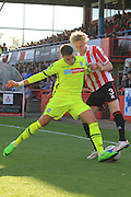 Adam Mekki and George McLennan during the Vanarama National League match between Cheltenham Town and Tranmere Rovers at Whaddon Road, Cheltenham, England on 26 September 2015. Photo by Antony Thompson.