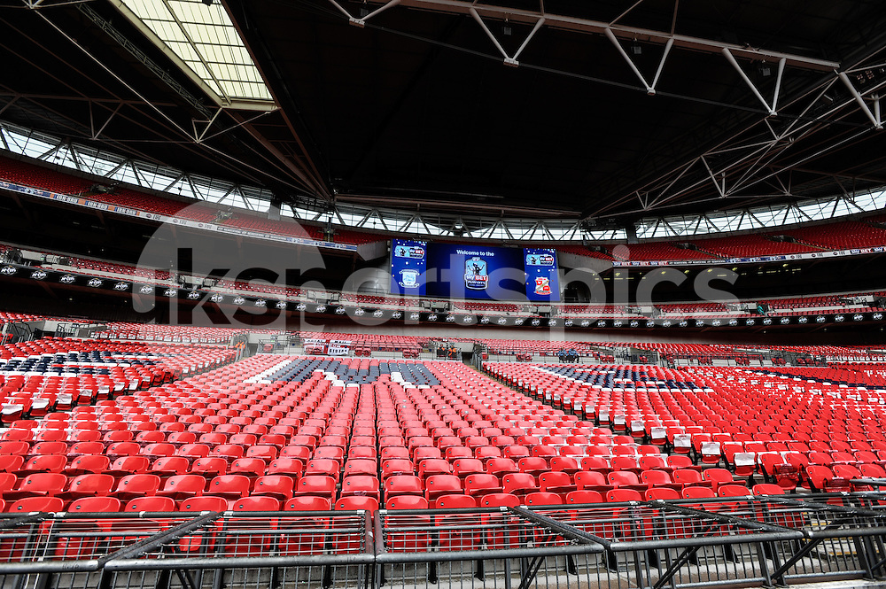 General view of Wembley Stadium before the Sky Bet League 1 Play-Off Final match between Preston North End and Swindon Town at Wembley Stadium, London, England on 24 May 2015. Photo by Salvio Calabrese.