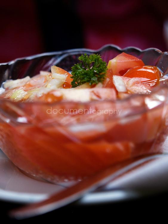 Tomato salad at Restauracia Stary Majer, Vratna valley, Mala Fatra National Park. Slovakia.