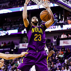 Feb 8, 2017; New Orleans, LA, USA; New Orleans Pelicans forward Anthony Davis (23) dunks against the Utah Jazz during the second quarter of a game at the Smoothie King Center. Mandatory Credit: Derick E. Hingle-USA TODAY Sports