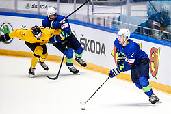 Povilas Verenis of Lithuania, Anze Kopitar of Slovenia and Miha Zajc of Slovenia during ice hockey match between Slovenia and Lithuania at IIHF World Championship DIV. I Group A Kazakhstan 2019, on May 5, 2019 in Barys Arena, Nur-Sultan, Kazakhstan. Photo by Matic Klansek Velej / Sportida