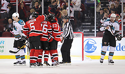 Oct 21; Newark, NJ, USA; The New Jersey Devils celebrate a goal by New Jersey Devils center Patrik Elias (26) during the first period at the Prudential Center.