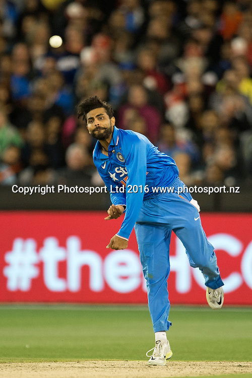 Indian player Ravindra Jadeja in action during the Twenty20 match between Australia and India at the MCG in Melbourne, Australia. Friday 29 January 2016. Copyright photo: Raghavan Venugopal / www.photosport.nz